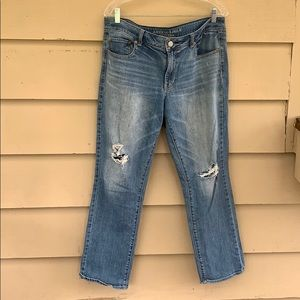 AEO Straight Stretch Destroyed 14 Jeans light